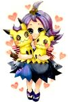 1girl :3 acerola_(pokemon) ahoge back_bow black_dress black_eyes blue_eyes blush_stickers bow child closed_mouth collarbone commentary dress full_body gen_7_pokemon hair_ornament happy heart heart_background highres holding holding_pokemon looking_at_viewer marker_(medium) mimikyu mofuo pokemon pokemon_(creature) pokemon_(game) pokemon_sm purple_footwear purple_hair red_bow sandals short_hair simple_background smile standing striped striped_bow traditional_media trial_captain wavy_mouth white_background