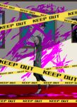 1boy :d bangs black_pants blood blood_on_wall bloody_clothes brown_eyes buxiang_(unknown_scr6) caution_tape commentary_request danganronpa_(series) danganronpa_2:_goodbye_despair facing_viewer foot_up from_side green_jacket hair_between_eyes hands_in_pockets highres hinata_hajime hood hooded_jacket indoors jacket keep_out komaeda_nagito long_sleeves male_focus open_mouth painting_(object) pants pink_blood shirt short_hair smile solo upper_teeth white_shirt