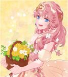 1girl bangs basket blonde_hair blue_eyes detached_sleeves dress flower highres holding holding_basket long_hair looking_at_viewer macross macross_frontier open_mouth rose sechi_(stst1850) sheryl_nome short_sleeves solo yellow_dress yellow_flower yellow_rose