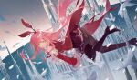 1girl absurdres amari animal arcaea bird boots castle character_request detached_sleeves dove from_side green_eyes highres horizon huge_filesize long_hair looking_at_viewer midair pantyhose pink_hair red_skirt red_sleeves scenery shoe_soles skirt smile solo thigh-highs thigh_boots