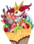 1girl animal_ear_fluff animal_ears animal_nose black_fur body_fur braixen closed_mouth commentary crepe dessert english_commentary feet food food_focus fox_ears fox_girl fox_tail from_side fruit furry gen_6_pokemon grapes hand_up happy highres ice_cream in_food kiwi_slice kiwifruit legs_up looking_at_viewer mango marker_(medium) mofuo oversized_food pawpads paws pokemon pokemon_(creature) raspberry simple_background smile snout solo stick strawberry tail traditional_media wafer_stick white_background white_fur yellow_fur