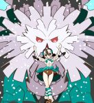 1girl abomasnow black_hair breasts brown_eyes candice_(pokemon) chorimokki closed_mouth clothes_around_waist gen_4_pokemon gym_leader hair_ornament hairclip long_hair looking_at_viewer multi-tied_hair pokemon pokemon_(creature) pokemon_(game) pokemon_dppt skirt smile striped striped_legwear sweater sweater_around_waist twintails