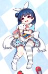 1girl :d alice_(alice_in_wonderland) alice_(alice_in_wonderland)_(cosplay) alice_in_wonderland bangs blue_dress blue_hair blue_headwear club_(shape) cosplay diamond_(shape) dress eyebrows_visible_through_hair feet_out_of_frame frilled_dress frilled_sailor_collar frills hair_bun hair_ribbon hat heart highres langbazi looking_at_viewer love_live! love_live!_sunshine!! mini_hat mismatched_legwear object_hug open_mouth pocket_watch puffy_short_sleeves puffy_sleeves red_footwear ribbon sailor_collar sailor_dress shoes_removed short_sleeves side_bun smile solo spade_(shape) striped striped_legwear stuffed_animal stuffed_bunny stuffed_toy thigh-highs thighhighs_pull tsushima_yoshiko upper_teeth violet_eyes watch white_legwear white_rabbit_(alice_in_wonderland) white_ribbon white_sailor_collar