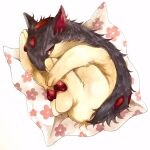 animal_focus cloth fetal_position floral_print from_above full_body gen_2_pokemon half-closed_eyes highres looking_at_viewer lying marker_(medium) mofuo no_humans on_side pawpads pokemon pokemon_(creature) quilava red_eyes simple_background solo traditional_media white_background