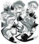 1girl armpits backless_outfit bare_shoulders beret blazblue blonde_hair blush chibi chibi_inset collage detached_sleeves expressions gloves green_eyes greyscale hat mako_gai monochrome necktie nervous noel_vermillion ragna_the_bloodedge ramen scared short_hair thigh-highs
