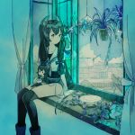 1girl aqua_theme black_legwear character_doll crane_(machine) cup curtains doll expressionless feet_out_of_frame grey_neckwear hair_over_shoulder hanging_plant headgear highres holding holding_cup i-47_(kancolle) indoors kantai_collection kokudou_juunigou long_hair looking_away looking_to_the_side neckerchief plant planter potted_plant sailor_collar school_swimsuit see-through_skirt shirt sidelocks sitting sitting_in_window skirt sleeveless sleeveless_shirt solo swimsuit thigh-highs very_long_hair window windowsill