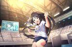 black_hair bloomers green_eyes idolmaster_cinderella_girls_starlight_stage long_hair ponytail sugisaka_umi