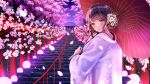 1girl amagi_shino cherry_blossoms eyebrows_visible_through_hair flower from_behind gradient_sky hair_flower hair_ornament holding holding_umbrella japanese_clothes kimono lights looking_at_viewer official_art oil-paper_umbrella original purple_sky railing short_hair shrine sky smile solo stairs tree uchikake umbrella