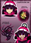 alternate_color alternate_eye_color alternate_hair_color angry arms_(game) beanie black_sclera blonde_hair colored_sclera corruption crossover dark_persona dharkon glowing glowing_eyes hal_laboratory hat highres kiravera8 looking_at_viewer mask min_min_(arms) nintendo possessed purple_mask short_hair super_smash_bros. watermark