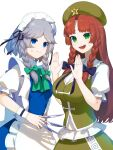 2girls anger_vein angry apron bangs black_ribbon blue_dress blue_eyes bow braid breast_envy breasts brown_hair chinese_clothes closed_mouth collar dress eyebrows_visible_through_hair green_bow green_dress green_eyes green_headwear green_neckwear grey_hair hair_bow hand_up hands_up hat highres hong_meiling ikasoba izayoi_sakuya knife long_hair looking_at_another maid maid_apron maid_headdress medium_breasts multiple_girls nervous open_mouth puffy_short_sleeves puffy_sleeves purple_bow ribbon short_hair short_sleeves simple_background small_breasts smile star_(symbol) touhou twin_braids white_apron white_background white_bow white_collar white_sleeves white_wristband wristband