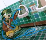 1boy baseball_cap bathroom black_hair commentary goggles gold_(pokemon) hat hose kaeru_touritsu male open_mouth pokemon pokemon_special restroom science translated urinal urinary water what