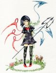 bad_id black_eyes black_hair black_legwear black_thighhighs high_heels houjuu_nue leaf legs mushroom pinkxxxna plant polearm ribbon shoes short_hair short_sleeves solo standing thigh-highs thighhighs touhou traditional_media watercolor_(medium) weapon wings zettai_ryouiki
