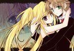 1girl asti brown_hair couple dress green_eyes hoshina_utau hug long_hair necktie purple_eyes short_hair shugo_chara! souma_kukai souma_kuukai twintails violet_eyes