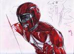 armor blood helmet injury kyouryuu_sentai_zyuranger power_rangers shinken_red simple_background super_sentai