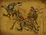 bandana brothers donatello fighting_stance jeftoon01 katana leonardo michelangelo multiple_boys nunchaku raphael sai_(weapon) scar siblings staff sword teenage_mutant_ninja_turtles translated wallpaper weapon