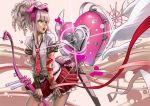 bad_id bow_(weapon) drill_hair green_eyes heart hinamori_amu necktie original payot pink_hair pleated_skirt ribbon school_uniform shugo_chara! skirt weapon wings wristband