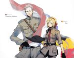 belgium_(hetalia) blonde_hair brother_and_sister flag gloves green_eyes hair_ribbon hsing military military_uniform necktie netherlands_(hetalia) ribbon short_hair siblings sleeves_rolled_up uniform