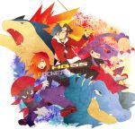 2boys ambipom catch-a-cold cue_stick feraligatr goggles gold_(pokemon) hat multiple_boys pokemon pokemon_(creature) pokemon_special silver_(pokemon) sneasel typhlosion weavile