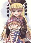 2girls :d american_flag_dress black_dress blonde_hair clownpiece dress eyebrows_visible_through_hair fairy_wings hands_on_another's_cheeks hands_on_another's_face hat headdress jester_cap junko_(touhou) long_hair long_sleeves looking_at_another multiple_girls neck_ruff open_mouth polka_dot_headwear purple_headwear red_eyes rokugou_daisuke short_sleeves smile star_(symbol) star_print striped striped_dress tabard touhou transparent_wings wide_sleeves wings