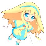 1girl :d aikei_ake bangs blonde_hair blue_dress blue_eyes blue_footwear blue_hairband blush dress eyebrows_visible_through_hair full_body hair_between_eyes hairband highres loafers long_hair long_sleeves looking_away open_mouth original personification shoes simple_background smile solo translation_request very_long_hair white_background wide_sleeves yellow_dress