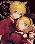 1boy 1girl ;o alternate_costume bare_shoulders black_bow black_neckwear black_ribbon blonde_hair blue_eyes bow bowtie breasts brother_and_sister cherry choker collarbone cup dessert dress dress_straps food fruit grin hair_bow hair_ornament hairclip highres holding holding_cup ice_cream kagamine_len kagamine_rin lace-trimmed_dress lace_trim looking_at_viewer one_eye_closed picking_fruit red_dress red_nails red_shirt ribbed_dress ribbon shirt short_hair short_ponytail short_sleeves siblings small_breasts smile twins u2hara vocaloid