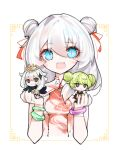 3girls :> :3 :d ai-chan_(honkai_impact) bangs blue_eyes bracelet chibi china_dress chinese_clothes chinese_new_year closed_mouth company_connection double_bun dress error1980 genshin_impact green_hair hair_between_eyes hair_ornament hairpin halo holding honkai_(series) honkai_impact_3rd jewelry long_hair looking_at_viewer mihoyo_technology_(shanghai)_co._ltd. multiple_girls open_mouth paimon_(genshin_impact) scarf short_sleeves simple_background smile theresa_apocalypse white_background white_hair