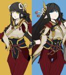 2girls black_hair blush hinoa japanese_clothes jon.eve kimono long_hair minoto monster_hunter monster_hunter_(series) monster_hunter_rise pointy_ears siblings twins
