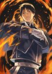 1boy absurdres adjusting_clothes aiguillette amestris_military_uniform backlighting black_eyes black_hair blue_jacket blue_pants closed_eyes clothes_grab collared_jacket dark_background darkness expressionless fire flame fullmetal_alchemist gloves hands_up hara_kenshi head_tilt highres jacket looking_at_viewer male_focus military military_uniform motion_blur pants roy_mustang snapping_fingers sparks spiky_hair tsurime uniform upper_body white_gloves