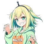 1girl amano_pikamee bangs blonde_hair breasts claw_pose colored_inner_hair eyebrows_visible_through_hair felutiahime green_hair green_hoodie hood hoodie medium_breasts multicolored_hair sharp_teeth short_hair smile solo streaked_hair teeth two_side_up upper_body v-shaped_eyebrows virtual_youtuber voms white_background