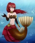 1girl :d air_bubble breasts collarbone eyebrows_visible_through_hair female green_hair looking_at_viewer mermaid navel open_mouth ponytail pyrrha_nikos redhead rwby seashell_bra solo underwater water zerorespect_bot
