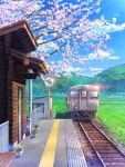 bench blue_sky building cherry_blossoms clouds day door english_commentary field grass ground_vehicle highres landscape mirror mountainous_horizon no_humans original outdoors plant potted_plant railing railroad_tracks sabishiiyoru scenery shed sky spring_(season) train train_station train_station_platform tree_branch utility_pole window