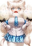 1girl animal_ears big_hair blue_eyes blue_neckwear blue_skirt blush commentary_request cotton_candy cowboy_shot elbow_gloves eyebrows_visible_through_hair fang gloves highres kemono_friends lain lion_ears lion_girl lion_tail long_hair looking_at_viewer necktie open_mouth pantyhose plaid plaid_neckwear plaid_skirt plaid_trim pleated_skirt shirt short_sleeves skirt solo t-shirt tail white_gloves white_hair white_legwear white_lion_(kemono_friends) white_shirt