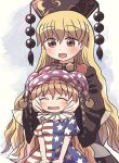 2girls bangs black_dress black_headwear black_sleeves blonde_hair brown_vest chinese_clothes closed_eyes clownpiece crescent dress eyebrows_visible_through_hair hair_between_eyes junko_(touhou) long_hair long_sleeves looking_at_another multiple_girls open_mouth pom_pom_(clothes) red_eyes rokugou_daisuke sitting smile touhou vest wide_sleeves