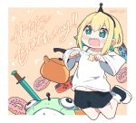 ! !! 1girl amano_pikamee artist_name bare_shoulders blonde_hair blush border collarbone controller english_commentary green_eyes hair_between_eyes happy_birthday kettle kukie-nyan looking_at_viewer navel open_clothes sharp_teeth shoes short_hair shorts solo sword teeth twitter_username virtual_youtuber voms watermark weapon white_border