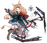 1girl animal_ears archetto_(arknights) arknights arrow_(projectile) blue_eyes boots bow_(weapon) brown_footwear compound_bow dress green_dress heterochromia highres holding holding_bow_(weapon) holding_weapon looking_at_viewer open_mouth quiver red_eyes ryu_(17569823) simple_background solo tail thigh_strap tiara weapon white_background