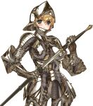 1girl armor blonde_hair blue_eyes blush boobplate breasts cowboy_shot faulds full_armor gauntlets hair_between_eyes helmet holding holding_sword holding_weapon keuma knight large_breasts original plate_armor sheath shiny shiny_clothes short_hair solo standing sweatdrop sword thigh_gap unsheathing weapon white_background zweihander