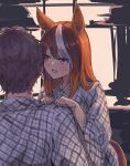 1boy 1girl :d animal_ears bangs blush brown_hair checkered checkered_kimono commentary_request eyebrows_visible_through_hair from_behind hands_on_another's_shoulder highres horse_ears horse_girl horse_tail japanese_clothes kimono kusanagi_kaoru long_hair long_sleeves looking_at_another multicolored_hair open_mouth raised_eyebrows short_hair smile streaked_hair symboli_rudolf_(umamusume) tail umamusume upper_body violet_eyes white_hair wide_sleeves yukata