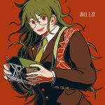 1boy :d bangs brown_jacket collared_shirt commentary_request dangan_ronpa_(series) dangan_ronpa_v3:_killing_harmony dated eyebrows_visible_through_hair glasses gokuhara_gonta green_hair hair_between_eyes happy holding insect_cage jacket kiri_(2htkz) long_hair long_sleeves looking_at_viewer male_focus messy_hair necktie open_mouth orange_background red_background red_eyes rimless_eyewear round_eyewear shirt simple_background smile solo teeth translation_request upper_body white_shirt