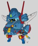 arms_at_sides dated fusion green_eyes grey_background jgsdf_type_07_tank_natchin looking_down mecha mechanical_wings moi_moi7 no_humans open_hands original science_fiction sentou_mecha_xabungle solo wings xabungle_(mecha)