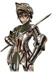 1girl armor breastplate brown_eyes brown_hair commentary_request eyebrows_visible_through_hair faulds frown full_armor gauntlets gleam helmet holding holding_sword holding_weapon keuma knight looking_at_viewer original plate_armor shiny shiny_clothes solo sword tsurime visor weapon white_background