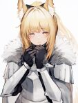 1girl absurdres animal_ear_fluff animal_ears arknights armor bangs black_gloves blemishine_(arknights) blonde_hair blush commentary_request extra_ears eyebrows_visible_through_hair fur-trimmed_armor gloves highres horse_ears horse_girl horse_tail knight light_smile long_hair looking_at_viewer plate_armor ponytail revision simple_background solo tab_head tail white_background yellow_eyes