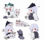 ... 4girls ahoge andreana_(arknights) animal animal_hug animalization aqua_headwear arknights ascot black_coat black_headwear black_neckwear bowl brushing cape cat chibi coat commentary crying crying_with_eyes_open earrings eyewear_on_head fluffy food_bowl grey_fur hair_ornament hair_over_one_eye hat holding holding_animal holding_cat jewelry multiple_girls multiple_tails necklace open_clothes open_coat orca_hair_ornament purple_fur red_eyes silver_hair sitting skadi_(arknights) skadi_(waverider)_(arknights) skadi_the_corrupting_heart_(arknights) sleeping smile sparkle specter_(arknights) spoken_ellipsis sunglasses symbol_commentary tail tears tongue tongue_out white_background zhu_mianzi zzz