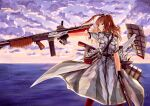 1girl absurdres black_gloves breast_pocket breasts brown_hair cannon dress dual_wielding fingerless_gloves flight_deck gloves grey_eyes gun hair_between_eyes highres holding holding_crossbow holding_gun holding_weapon huge_filesize junk_life kantai_collection large_breasts neckerchief outdoors pocket ponytail red_legwear rigging saratoga_(kancolle) side_ponytail sidelocks smokestack_hair_ornament solo submachine_gun thompson_submachine_gun turret weapon white_dress
