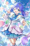 1girl :3 angel_wings balloon bangs bare_legs blue_bow blue_hair blue_ribbon blue_shirt blue_skirt blue_sky blush boots bow buttons clouds coat commentary_request copyright_name feet_out_of_frame finger_gun frilled_shirt_collar frilled_skirt frills green_ribbon hair_ornament hair_ribbon headset highres key layered_skirt leg_ribbon looking_at_viewer matanonki microphone nijisanji off-shoulder_coat off_shoulder official_art one_eye_closed open_clothes open_coat open_mouth outdoors pink_ribbon plaid plaid_bow pointing pointing_at_viewer ribbon shirt short_twintails skirt sky sleeveless sleeveless_shirt solo sparkling_eyes star_(symbol) star_hair_ornament twintails virtual_youtuber white_coat white_footwear wings yuuki_chihiro