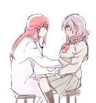 2girls blush character_request copyright_request eyebrows_visible_through_hair grey_hair hair_ornament hairclip hand_under_clothes long_hair looking_at_another multiple_girls pink_hair pito_(sh02327) short_hair simple_background sitting stethoscope sweat white_background yuri