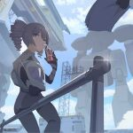 1girl artist_request bangs blue_sky bronya_zaychik can clouds cloudy_sky drill_hair drinking drinking_straw grey_eyes grey_hair hair_between_eyes helmet holding holding_can holding_helmet holding_paper honkai_(series) honkai_impact_3rd long_sleeves mecha official_art outdoors paper papers sitting sky soda_can solo twin_drills