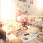 1girl absurdres bed bedroom black_eyes carpet clock computer curtains guitar half_updo highres huge_filesize indoors instrument laptop light_particles lupinus4869 music nintendo_switch orange_hair original pillow plant playing_instrument potted_plant room scenery sitting sunlight table television window