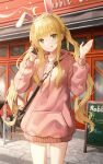 1girl :q absurdres ahoge animal_ears bag bangs blonde_hair building cellphone chair closed_mouth commentary drawstring english_commentary english_text eyebrows_visible_through_hair green_eyes hands_up highres holding holding_phone hood hood_down hoodie kerno long_sleeves looking_at_viewer menu_board original phone pink_hoodie puffy_long_sleeves puffy_sleeves rabbit_ears revision shoulder_bag sidelocks smile solo table tongue tongue_out twintails