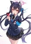 1girl absurdres animal_ears armband biting black_hair blue_archive blush cat_ears glove_in_mouth gloves hair_between_eyes highres id_card ion_(on01e) long_hair looking_at_viewer mouth_hold putting_on_gloves red_eyes revision school_uniform serika_(blue_archive) simple_background solo twintails two-tone_gloves white_background