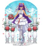 1girl android bare_shoulders bouquet breasts bridal_veil dark_skin dress flower full_body hair_ornament hair_over_one_eye high_heels highres holding joints layer_(mega_man) layered_skirt lips long_hair looking_at_viewer medium_breasts mega_man_(series) mega_man_x_(series) mizuno_keisuke mole mole_under_eye non-web_source official_art pantyhose parted_lips purple_hair robot_joints rockman_x_dive shiny shiny_hair skirt sleeveless sleeveless_dress smile solo standing veil wedding_dress white_dress white_footwear
